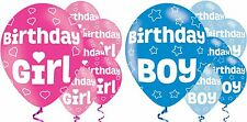Birthday Latex Balloons Boy/Girl - Blue/Pink Helium/Air Fill 6 Pack