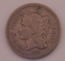 1868 Three Cent Nickel 3c Old US Coin Old 3 Cents NR FREE SHIP A94