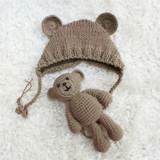 Newborn Baby Girl Boy Kniting Costume Bear Doll+Hat Set Photography Prop Crochet