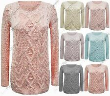 New Womens Long Sleeve Chunky Knit Winter Warm Cable Jumper Stretch Sweater Top