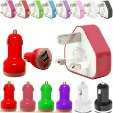 3.1A RAPID TWIN USB PORT IN CAR BULLET+ 3 PIN UK WALL MAINS PLUG FOR MOBILES