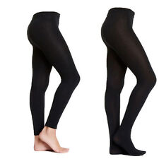 2 Pairs Black Warm Fleece Lined Women's Footed or Footless Tights Pantyhose