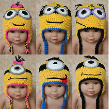 New Handmade Knit Crochet Baby Child Kids Minions Hat Cap Newborn Photo Prop Hat