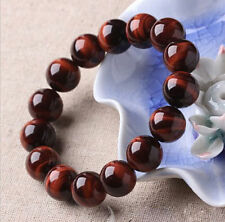 Unisex's Men Natural Red Tiger Eye Stone Round Beads Stretchable Bracelet Bangle