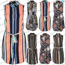 Ladies Belted Sleeveless Womens Stripes Print Curved Hem Hi Lo Shirt Dress