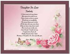 Daughter In Law Personalized Poem Gift For Birthday Christmas