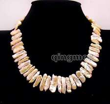 SALE Big 15-25mm Pink Natural freshwater Biwa Pearl 17'' Necklace-nec6172