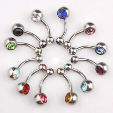 Double Gem Belly Bar 316L Surgical Steel Button Navel Ring Gem Crystal 2pcs