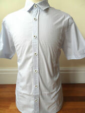PETERWERTH Men's Short Sleeve Micro Check Shirt Cotton Blue Size: 3-L