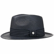 LIERYS Blue Striped Ribbon Panama Hat Hats Mens Hat Straw Hat Sun Hat Summer
