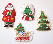 Set CHRISTMAS TREE & SANTA Iron On Embroidered Appliques Patch~ Sled Snow Globe