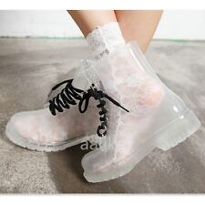 Women Clear Jelly Rain Boots Lace Low Ankle Flat Rubber Wellies Rainshoes Cute