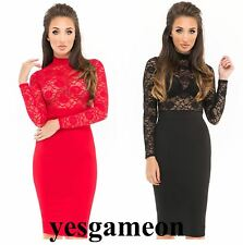 Womens Insert Lace Top Long Sleeves Bodycon Prom Cocktail Party Slim Midi Dress