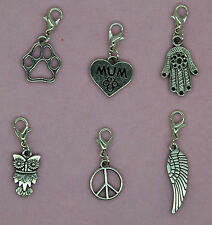 Mum Charms Pendant Dangle Clip On Charm Lobster Clasp for Bracelets Chains