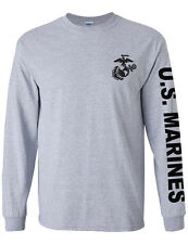 NEW NWT Marines Military Branch On Long Sleeve T-Shirt, with Chest Logo