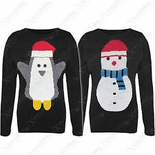 WOMENS LADIES XMAS JUMPER SNOWMAN PENGUIN WINTER RETRO SWEATER SANTA FAIRISLE