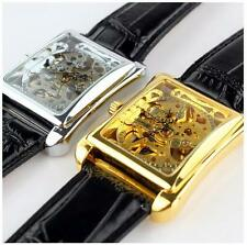 Luxury Skeleton Automatic Mechanical Mens Leather Wrist Watch Gentlemen Design