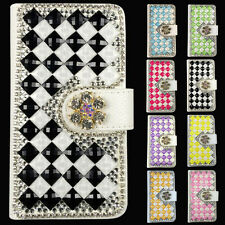 Luxury Bling Magnetic Flip Wallet PU Leather Case Cover For Huawei iPhone