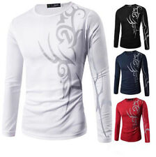 Slim Fit Tattoo Print Top Casual Mens Hot T-Shirt Long Sleeve New Round Neck