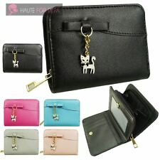 NEW FAUX LEATHER SHORT PURSE BOW DETAIL KITTY CHARM LADIES WOMEN'S WALLET
