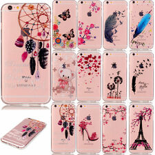 Clear Soft TPU Case for Apple iPhone Cute Patterns Protective Back Fitted Cover