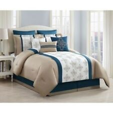 NEW Queen Cal King Bed Teal Ivory Gold Geometric 9 pc Comforter Set Elegant NWT