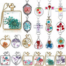 Newest Creative Real Natural Dried Flower Glass Drop Pendant Chain Necklace Gift