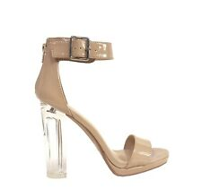 CARGO! Women's Perspex Sexy Ankle Strap Platform Chunky Clear  Heel Sandals
