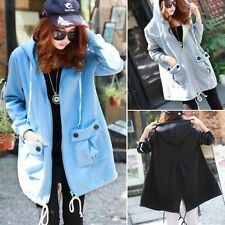 Leisure Zip Up Drawstring Hem Womens Hoodies Outwear Sweats Jacket Pockets Slit