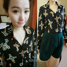 Korea Women Casual Long Sleeve Floral Lapel Button Down Shirts Blouses Tops 6569