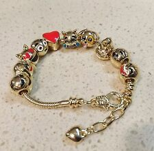 Emoji Bracelet 18k Gold Plated Unique Charms 10 Set Adjustable Clasp 18-21cm