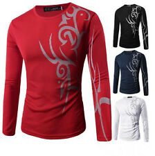 T-Shirt New Top Round Neck Tattoo Print Hot Casual Mens Slim Fit Long Sleeve