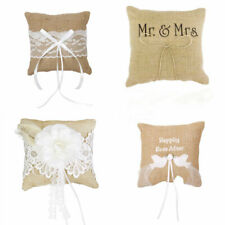 Rustic Burlap Ring Bearer Pillow Wedding Ring Cushion Lace Flower Decoration