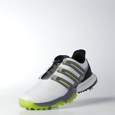 New Adidas Powerband Boa Boost Golf Shoes Wide White/Solar Slime Choose Size