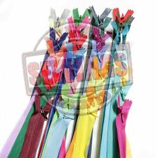 "10""/ 25cm. Assorted Mixed Colors Closed End Invisible Hidden Zippers 12,24,36"