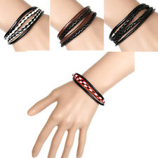 1Pcs Black  Wristband  Interlaced  Leather  Mens  Bracelet  Bangle  Cuff  Hot