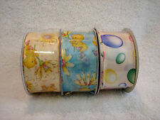 """BUNNIES & BOWS COLLECTION - 3 ROLLS of  ASSORTED 1 3/8"""" EASTER RIBBON  (9 YARDS)"""