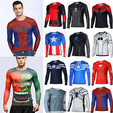 Marvel Superhero Costume Long Sleeve Tee T-Shirt Compression Casual Jersey Tops