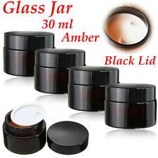 30ml Amber Glass Jar Bottles Black Lid For Cosmetics Cream Spices Travel Jar
