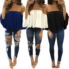 Sexy Women Off Shoulder T-Shirt Casual Short Sleevel Blouse Shirt Tops Tee I5S3