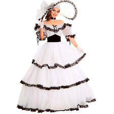 Adult Nostalgic Southern Belle Costume Gown Ball White Spots Dress with Hat Lady