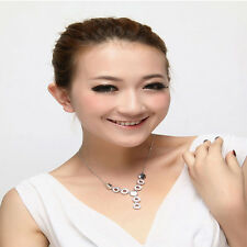 Women Gift 18K Gold Plated Crystal Necklace&Earrings&Ring Wedding Jewelry Set