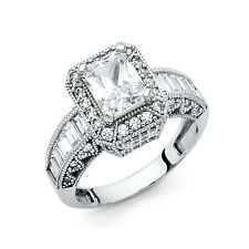 14k White Gold 2.5 Carat Emerald Cut Diamond Engagement Ring Solitaire Ring