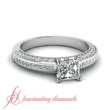 14K White Gold Channel Set Princess Cut And Round Diamond Engagement Ring 1.3 Ct