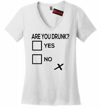 Are You Drunk Check Funny Ladies V-Neck T Shirt Alcohol Beer Party Gift Tee Z5