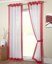 Modern Red Eyelet Voile Panel - Ready Made Ring Top Plain Voile Net Curtain
