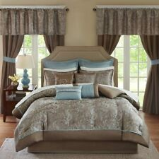 NEW Queen Cal King Bed Bag Blue Brown Paisley 24 pc Comforter Window Set Elegant