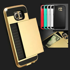 Hybrid Armour Hard Back Card Storage Slide Case Cover For Samsung Note 5 DM
