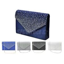 NEW Womens Rhinestone Satin Clutches Handbags Chain Evening Party Bags Purse