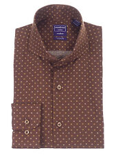 Slim Fit Chocolate Brown Circle Pattern Cutaway Collar Cotton Dress Shirt